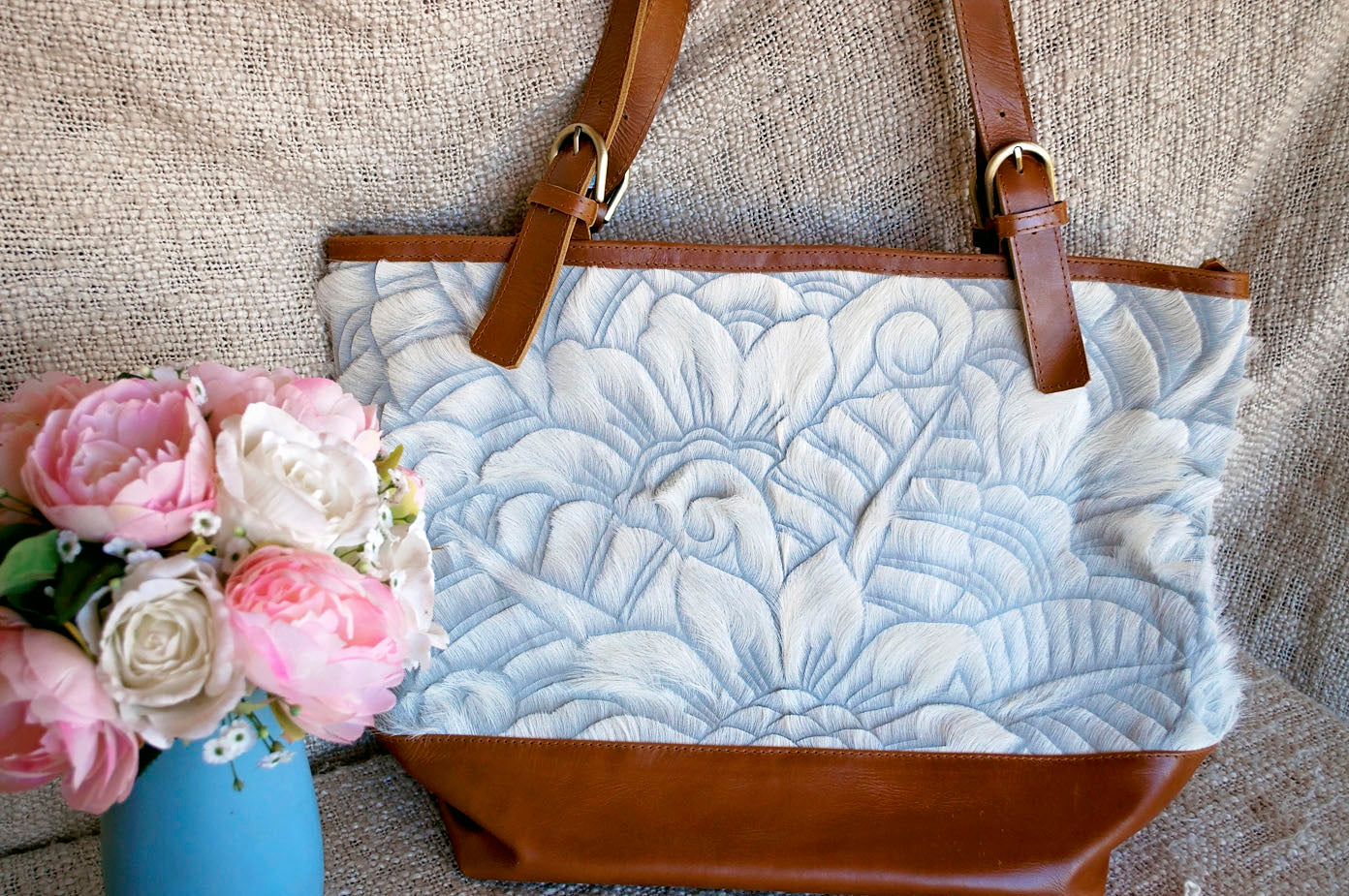 Toolong Tote ~ White Carved Collection