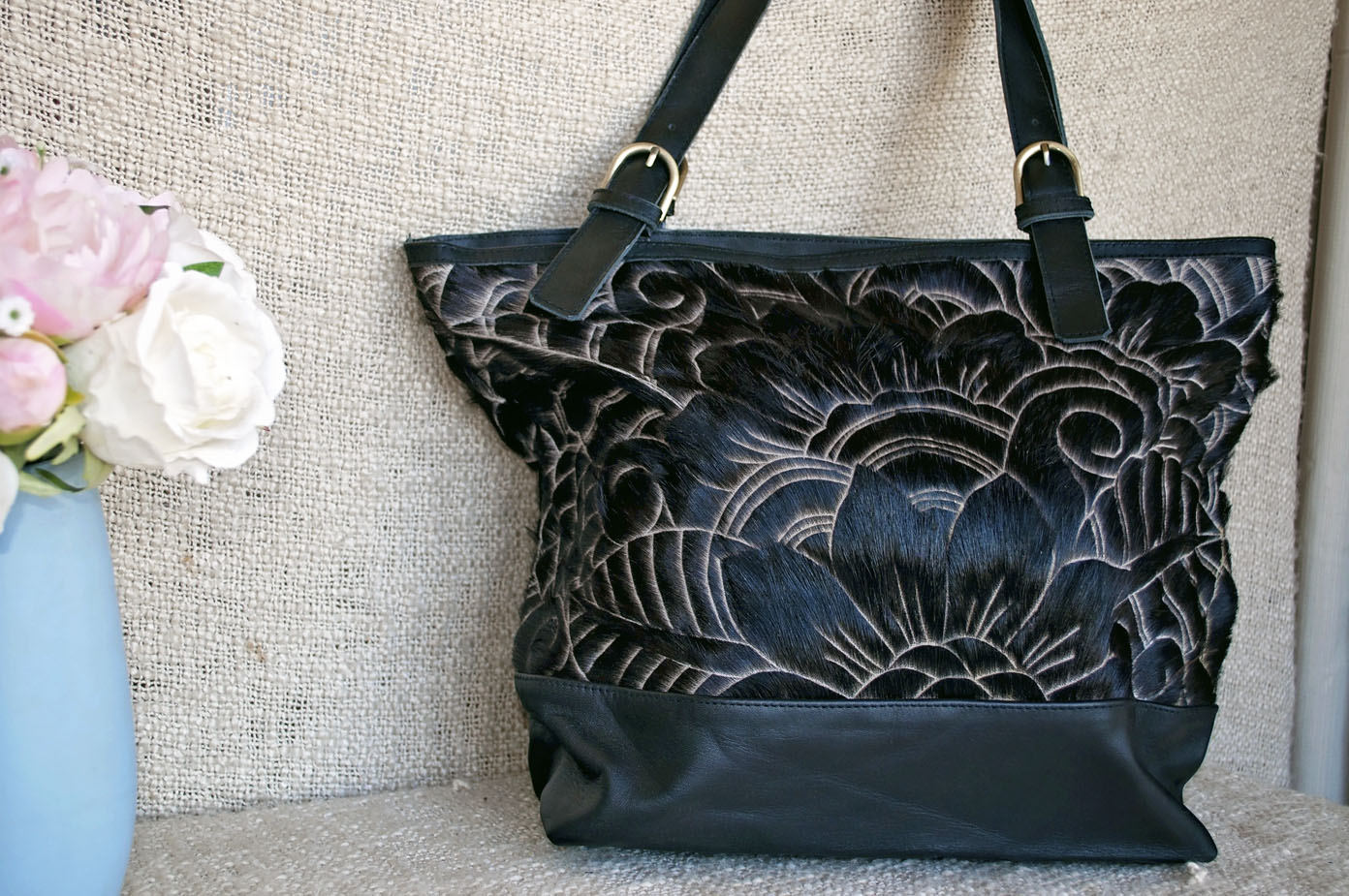 Toolong Tote ~ Black Carved Collection