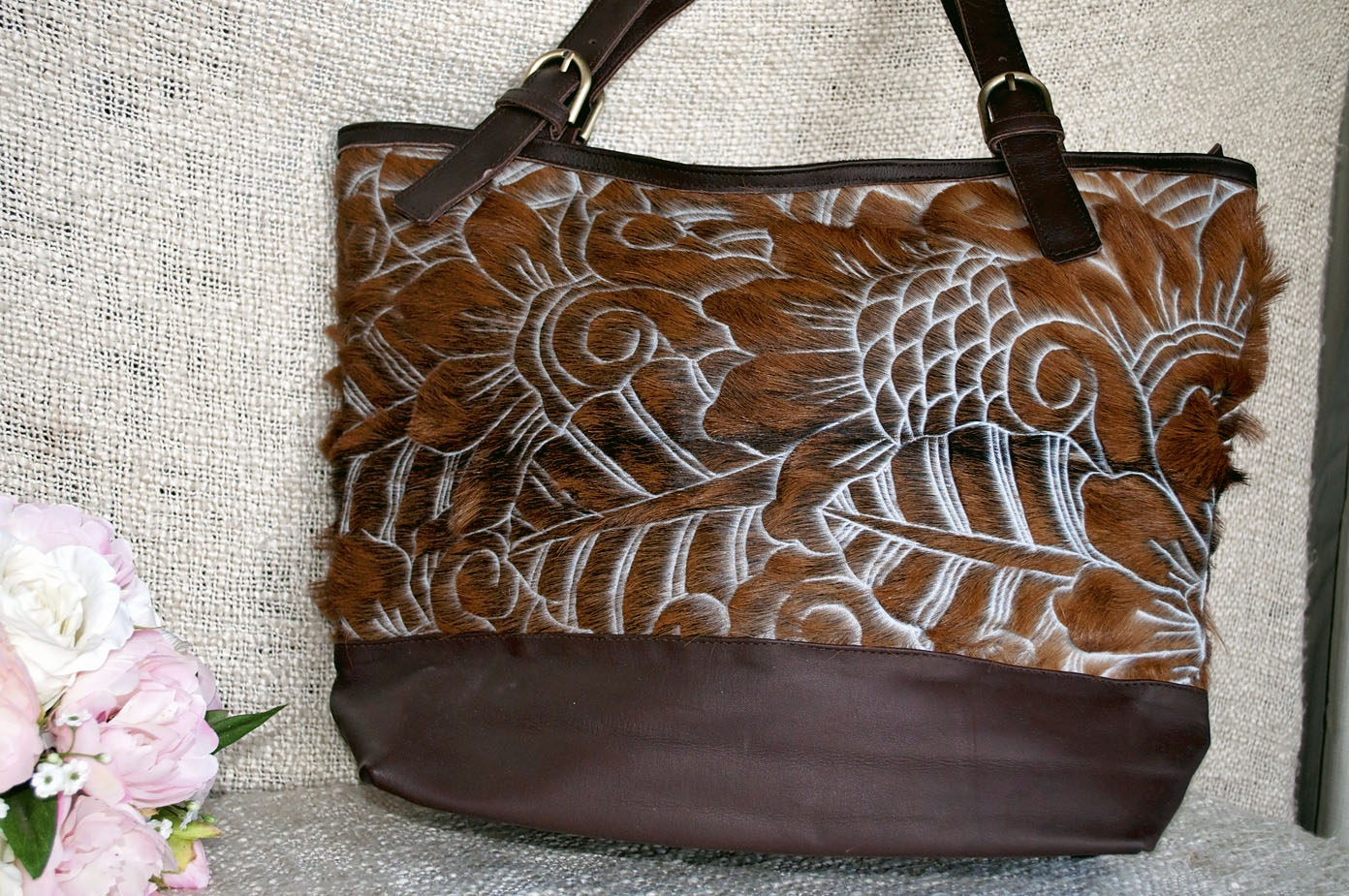 Toolong Tote ~ Brown Carved Collection
