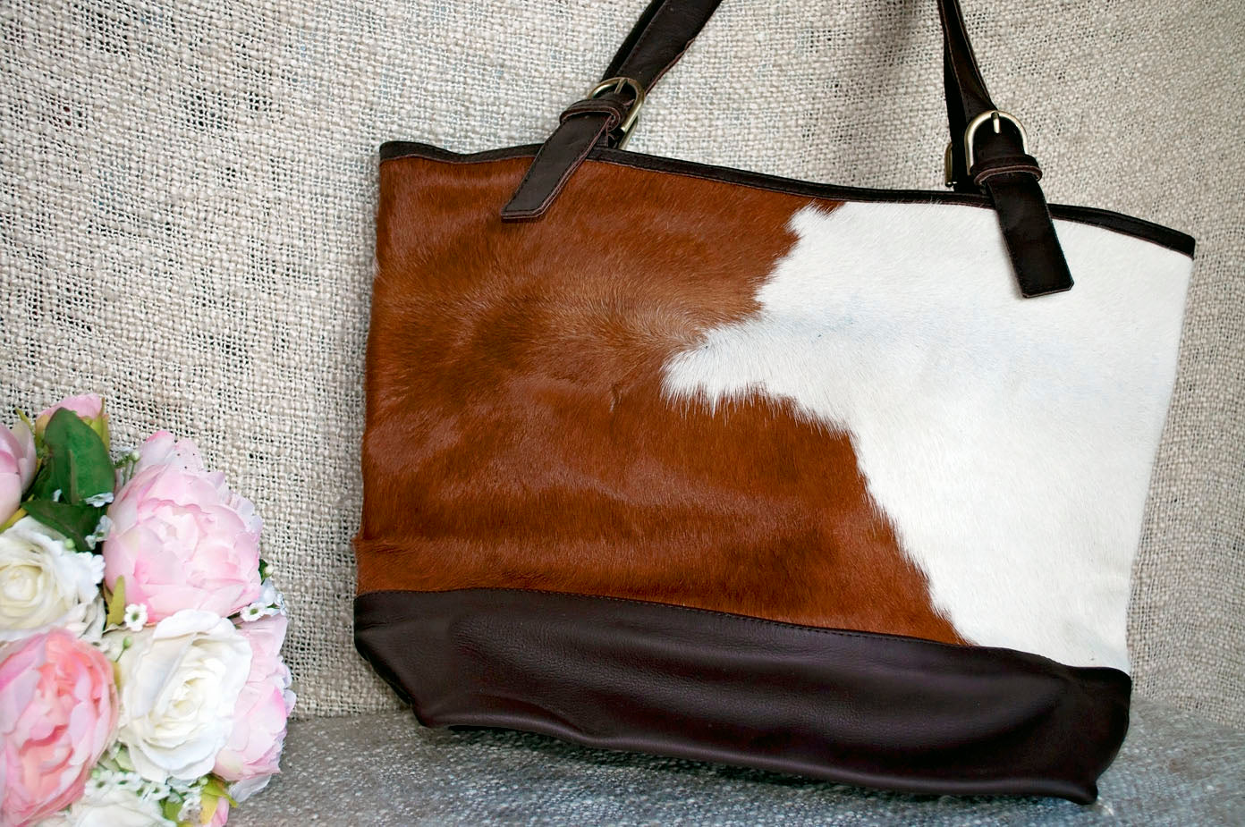Toolong Tote ~ Brown & White Collection