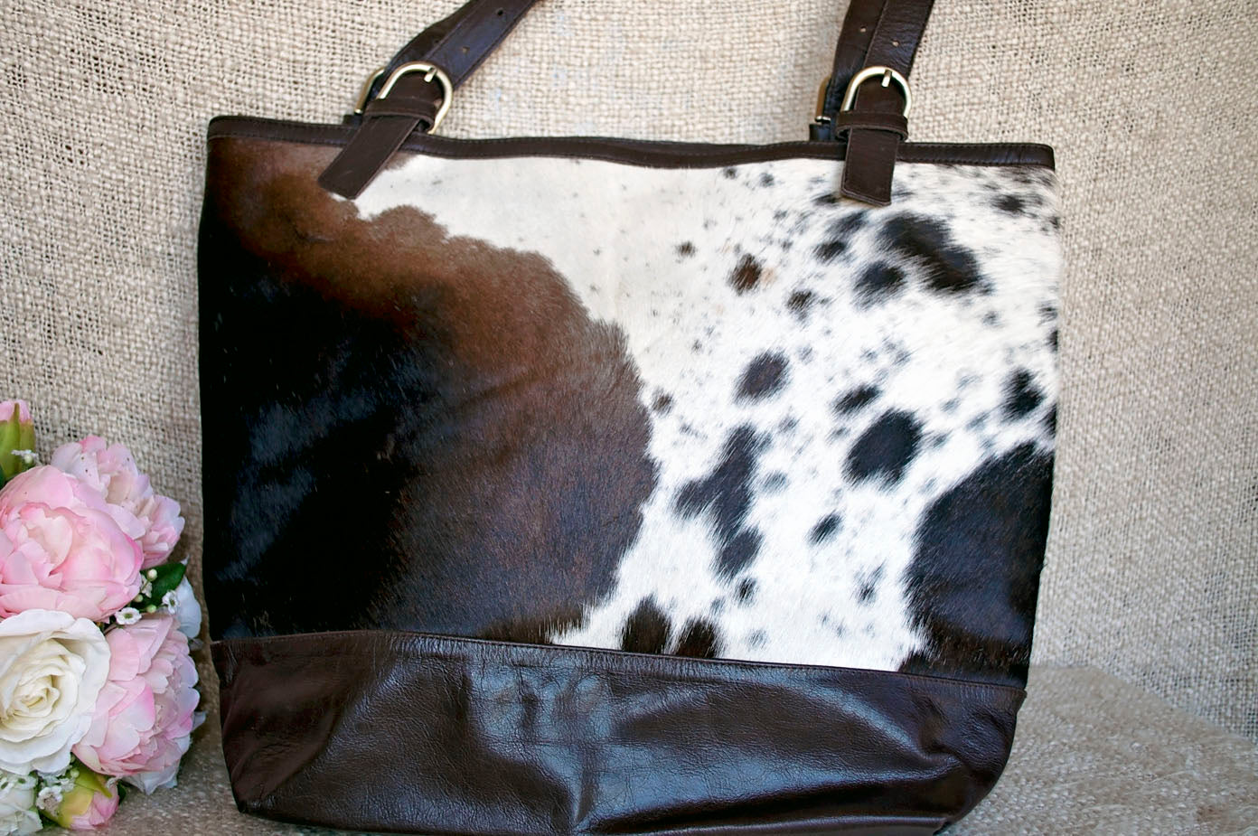 Toolong Tote ~ Dark Brown & White Collection