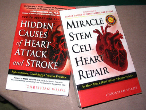 Both books: Miracle Stem Cells Heart Repair and Hidden Causes of Heart Attack and Stroke for a discounted price of $29.95