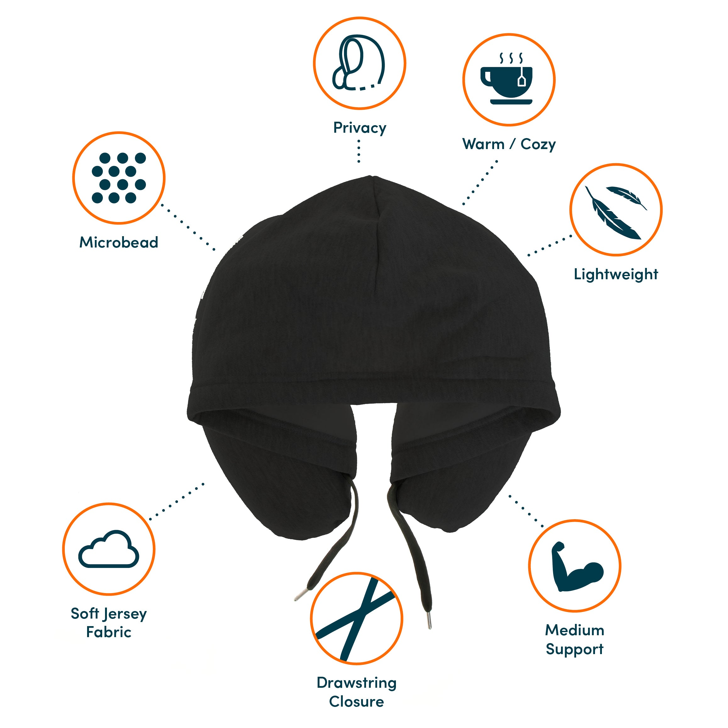hoodie neck pillow black