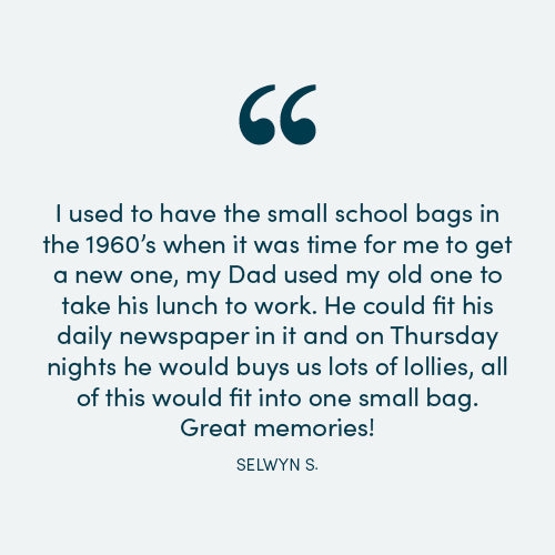 I used to have the small school bags in the 1960's when it was time for me to get a new one, my Dad used my old one to take his lunch to work