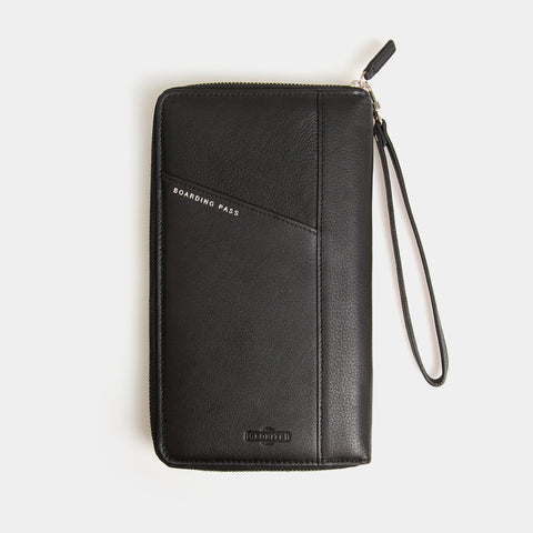 RFID Leather Travel Wallet - Carbon Ink - globite