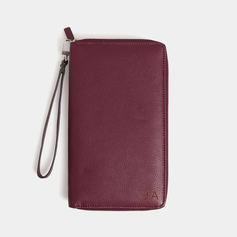 RFID Leather Travel Wallet - Barossa Mulberry