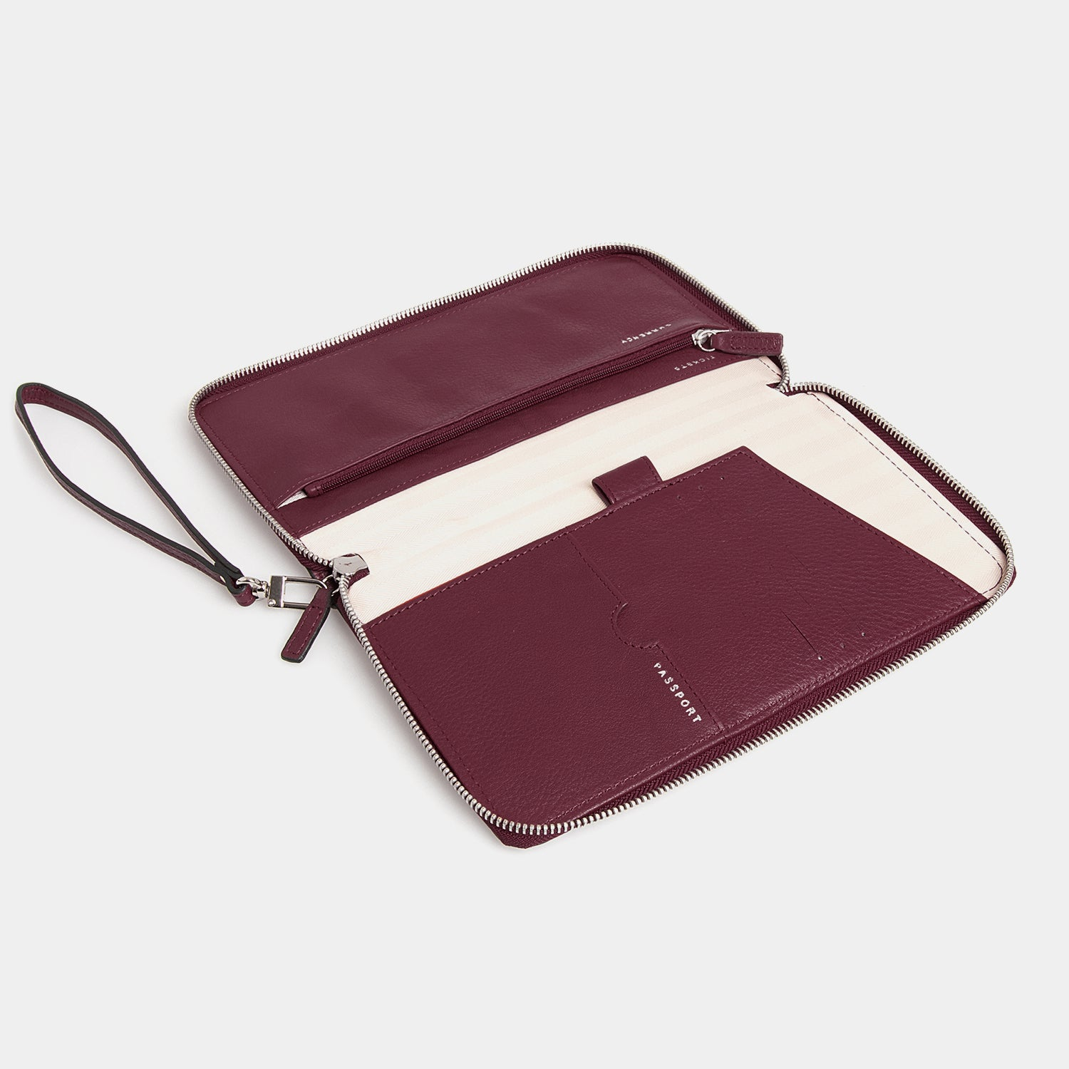 RFID Leather Travel Wallet - Barossa Mulberry - globite