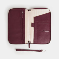 RFID Leather Portfolio Wallet - Barossa Mulberry - globitetravel