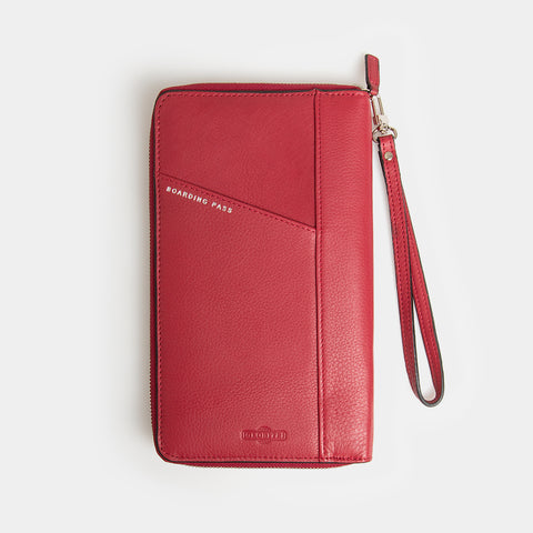 RFID Leather Travel Wallet - Desert Claret - globite