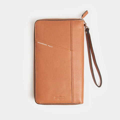 RFID Leather Portfolio Wallet - Flinders Tan - globitetravel