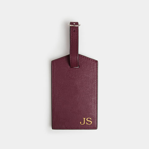 Leather Luggage Tag - Barossa Mulberry