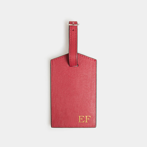 Leather Luggage Tag - Desert Claret - globite