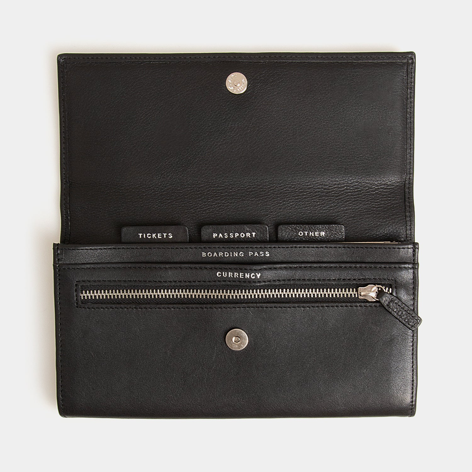 RFID Leather Travel Clutch - Carbon Ink - globitetravel