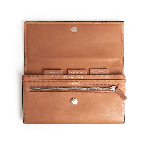 RFID Leather Travel Clutch - Flinders Tan - globitetravel