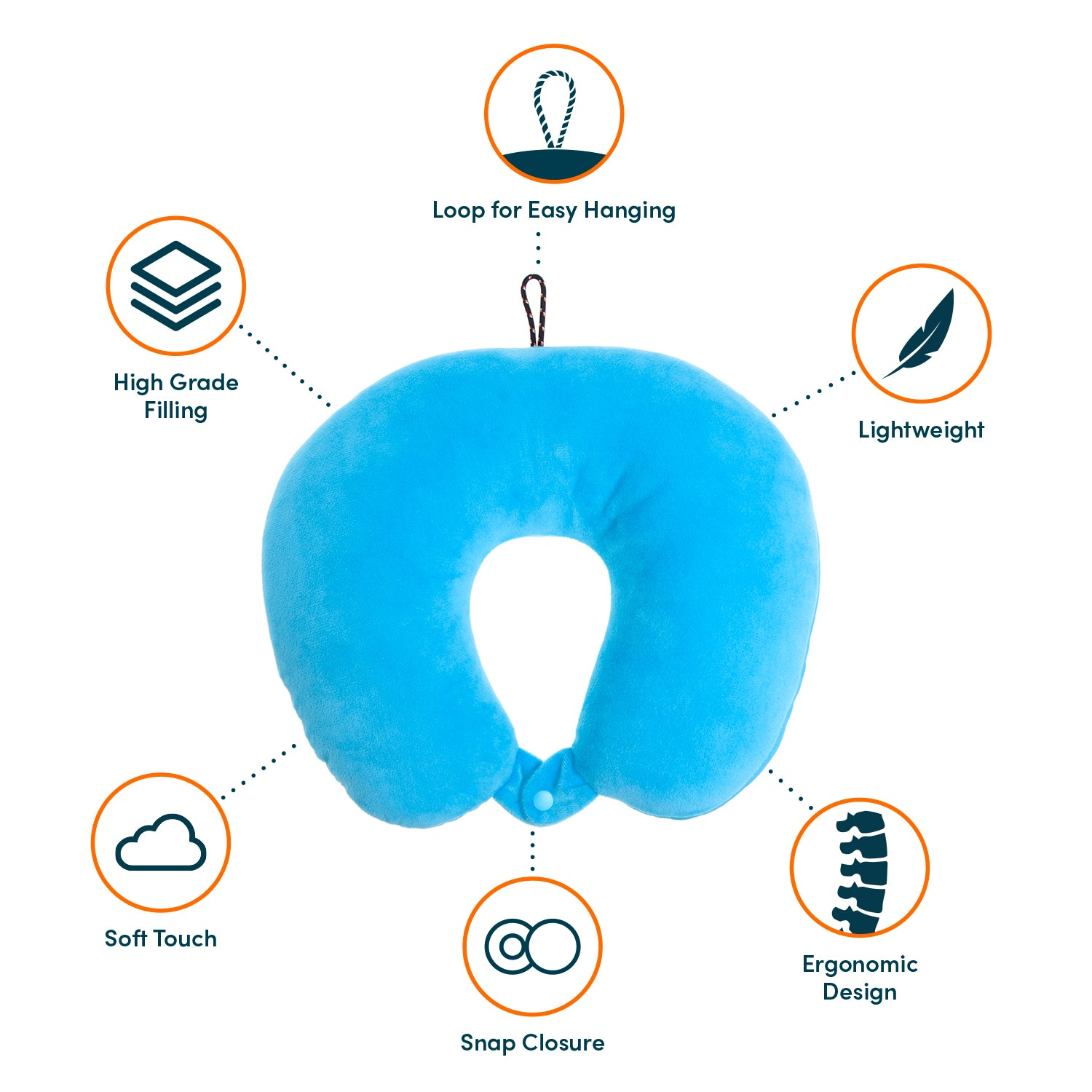 Explorer Travel Pillow - Blue - globite