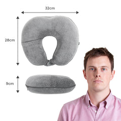 Deluxe Memory Foam Neck Pillow - Grey - globitetravel