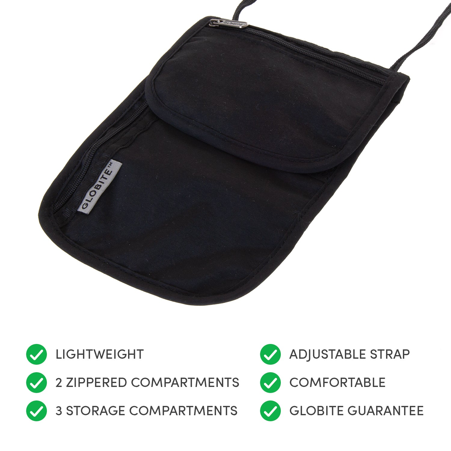 Security Neck Pouch - Black - globitetravel