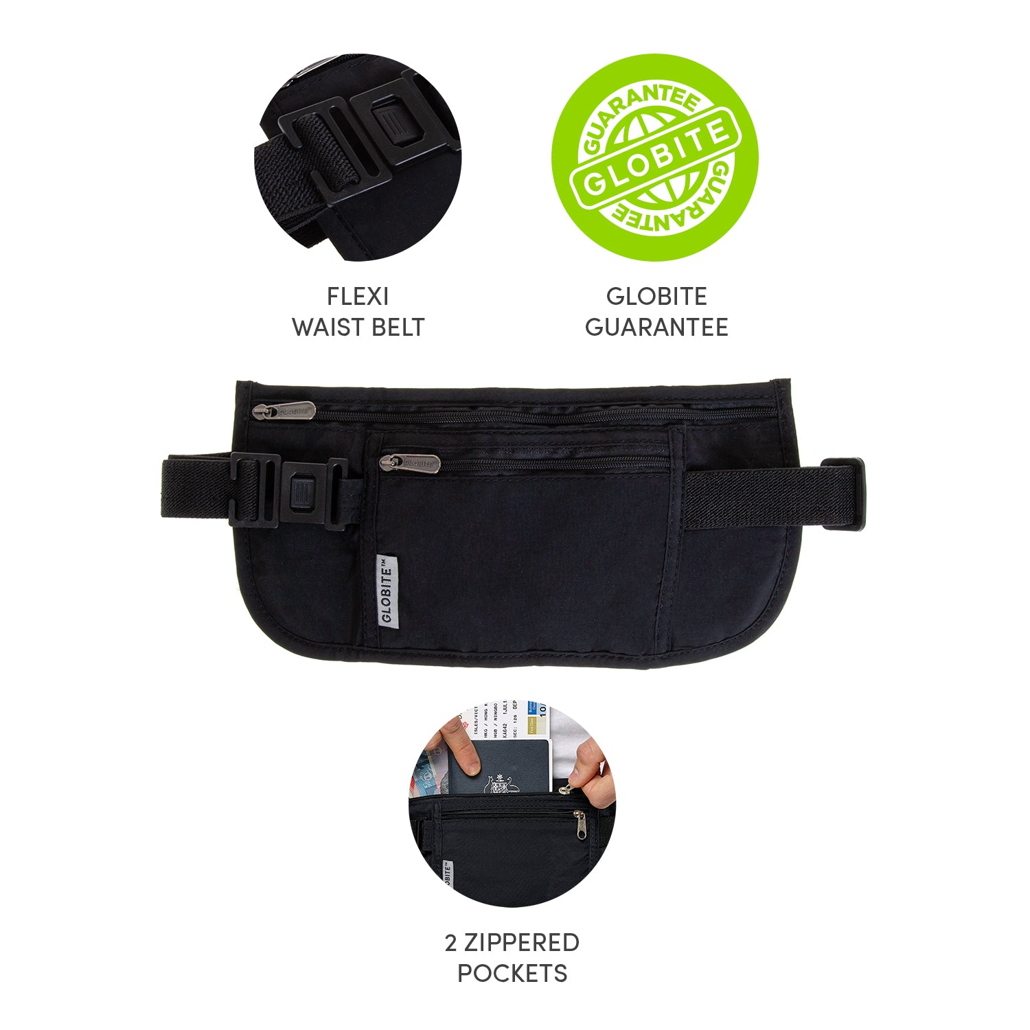 Security Money Belt - Black - globitetravel