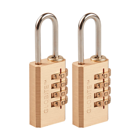 Solid Brass 4 Dial Combination Lock 2 Piece Set - globite