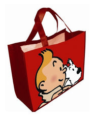 RECYCLED BAG TINTIN & SNOWY RED (BIG)