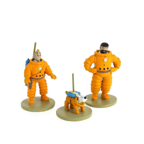 BOX OF 3 MINI FIGURINES-TINTIN, SNOWY & CAPTAIN HADDOCK
