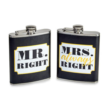 FLASK 7 FL OZ/2 MR. RIGHT & MRS. ALWAYS RIGHT