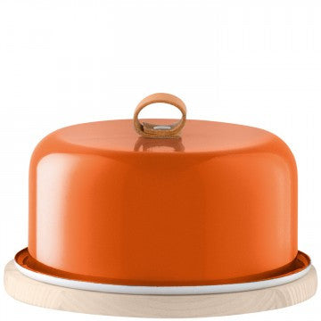 LSA Utility Cheese Dome & Ash Base 20cm Pumpkin Orange