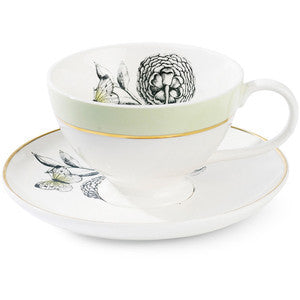 Espresso Cup with Saucer Big Flower - Green