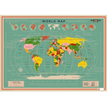 WORLD MAP WRAPPING PAPER (24459)