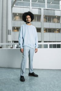 Graphic logo light blue sweater [drop] - NOBODY HAS TO KNOW