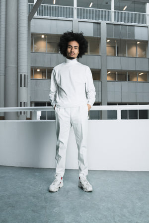 Graphic logo roll neck shirt white [drop] - NOBODY HAS TO KNOW