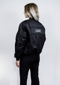 BOMBER JACKET BLACK - CARE / DON'T CARE PATCH - NOBODY HAS TO KNOW