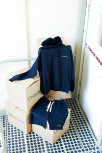 Graphic logo navy sweat shorts [drop] - NOBODY HAS TO KNOW