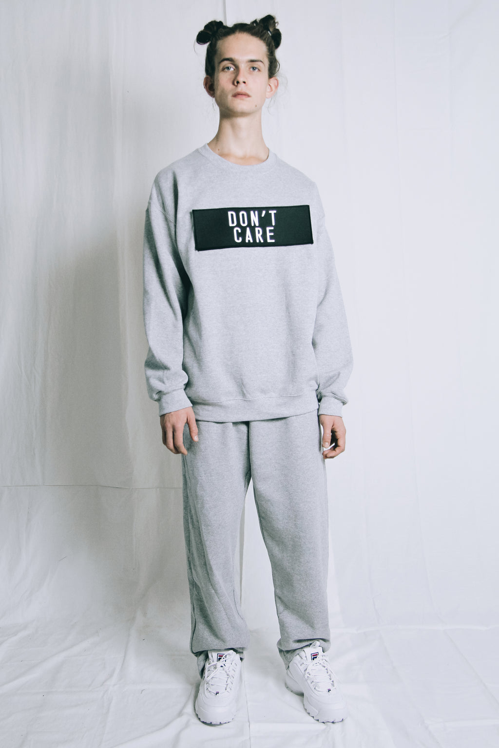 Statement sweater // care/don't care grey
