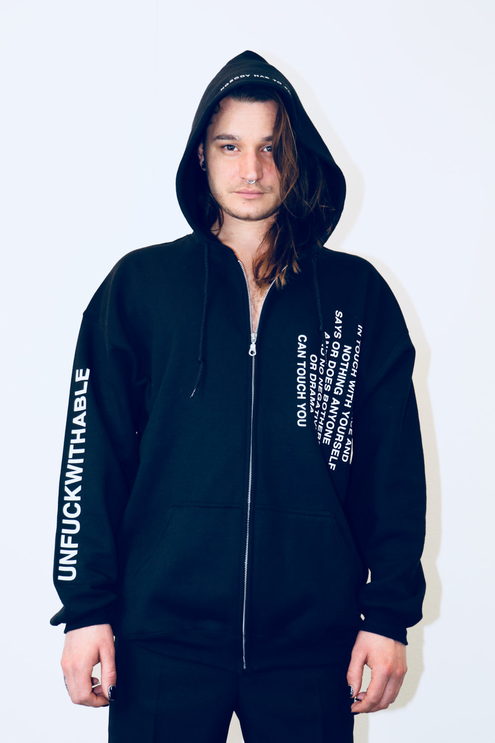 Zip hoodie THE UNFUCKWITHABLES black 1 - NOBODY HAS TO KNOW