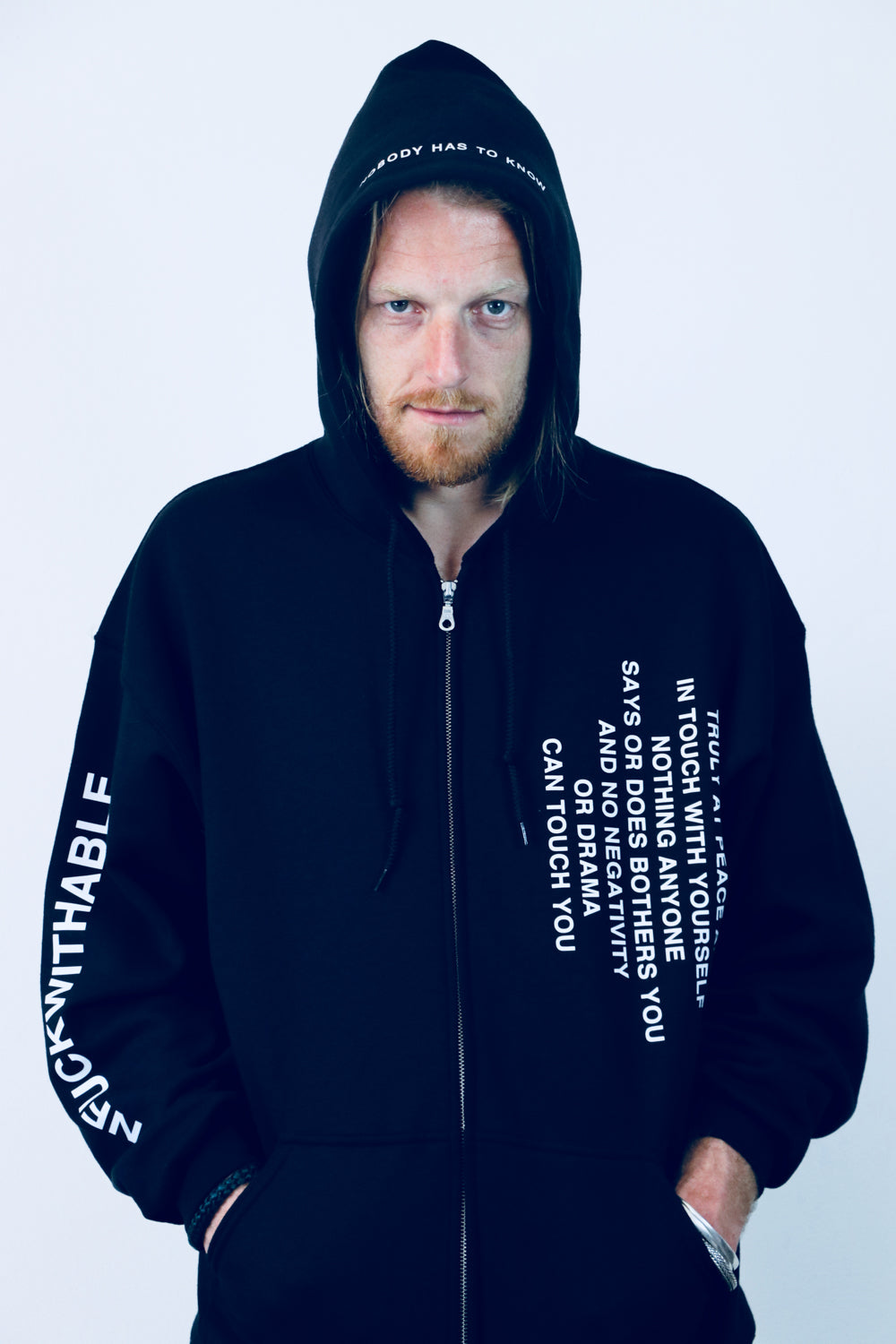 Zip hoodie THE UNFUCKWITHABLES black 3 - NOBODY HAS TO KNOW