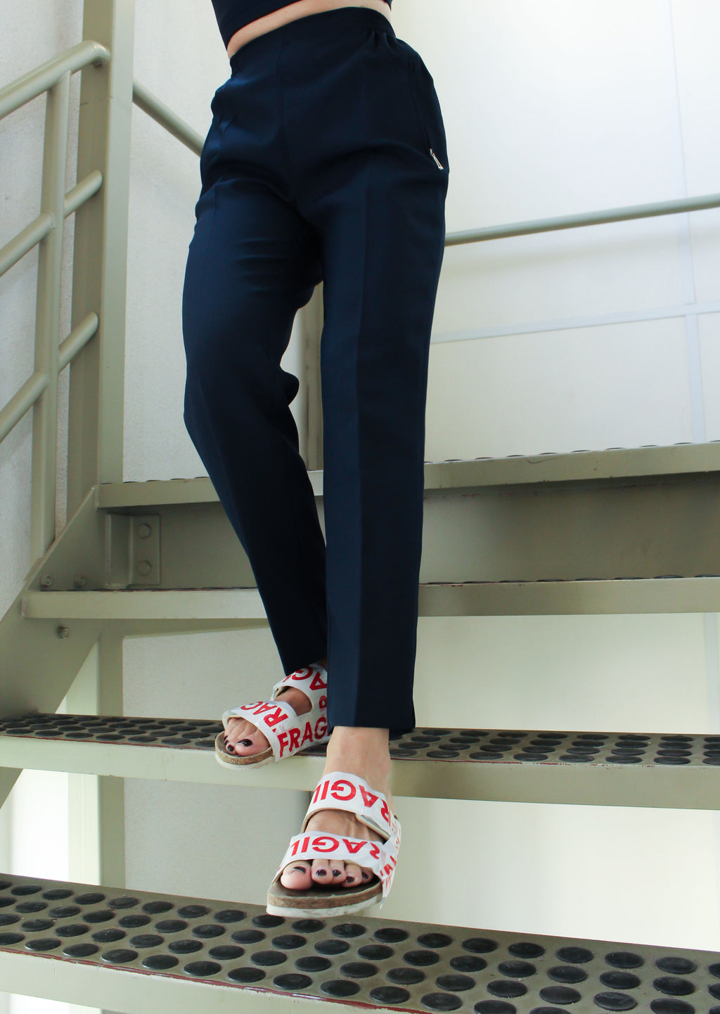 High waisted pants navy [drop] - NOBODY HAS TO KNOW