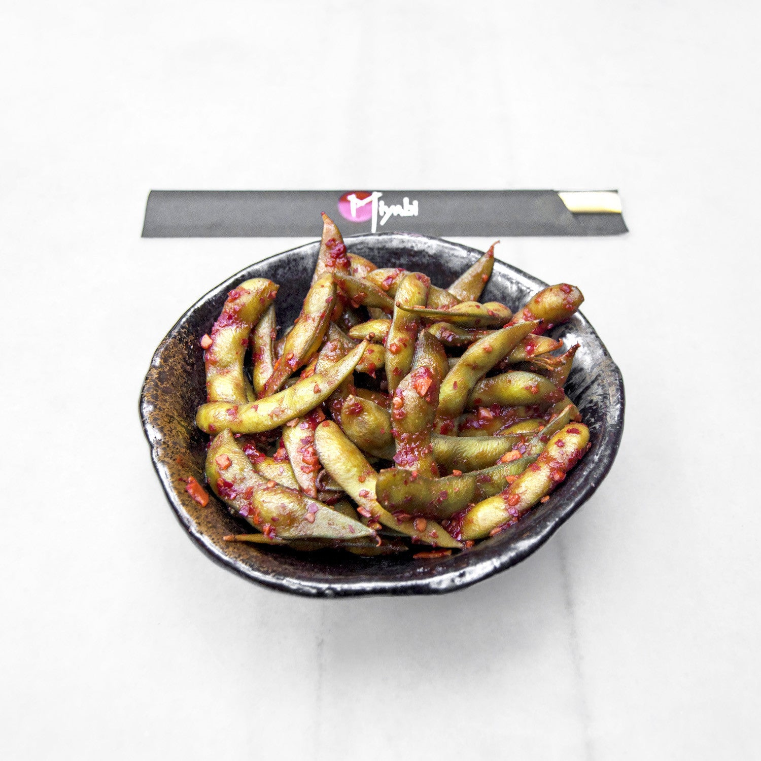 Edamame with Chili Garlic Sauce