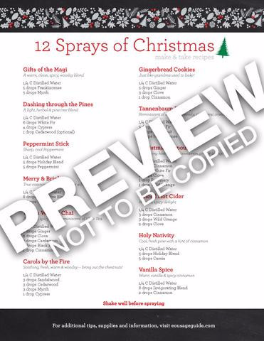 12 Sprays of Christmas Recipes (Qty 10)