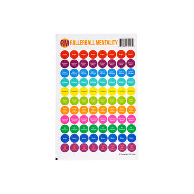Rollerball Mentality Lid Stickers 1/2 sheet