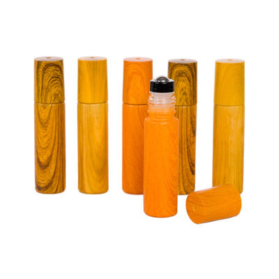 10ml Wood Painted Roller Bottles - 6pk