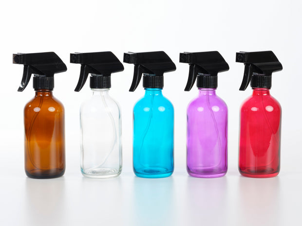 8 oz Glass Trigger Sprayer Bottle - 5 Colors Available - Oil Life