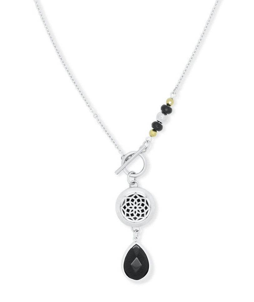 Erin Black Onyx Toggle Diffuser Necklace