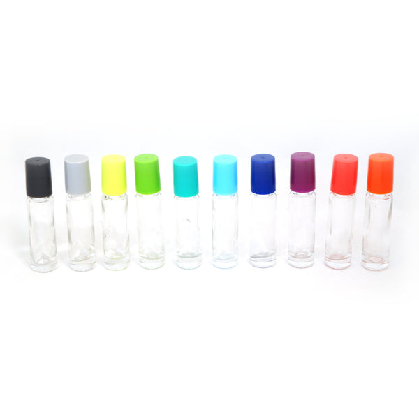 10 ml Clear Rollons with Multi Color Lids (10pk)