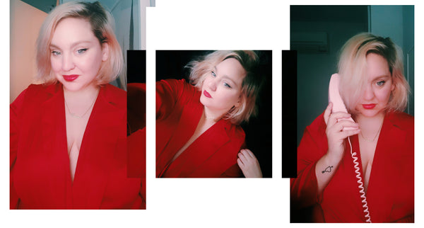 Laura Delarato, senior creative at Refinery29 wearing the red silk satin jumpsuit