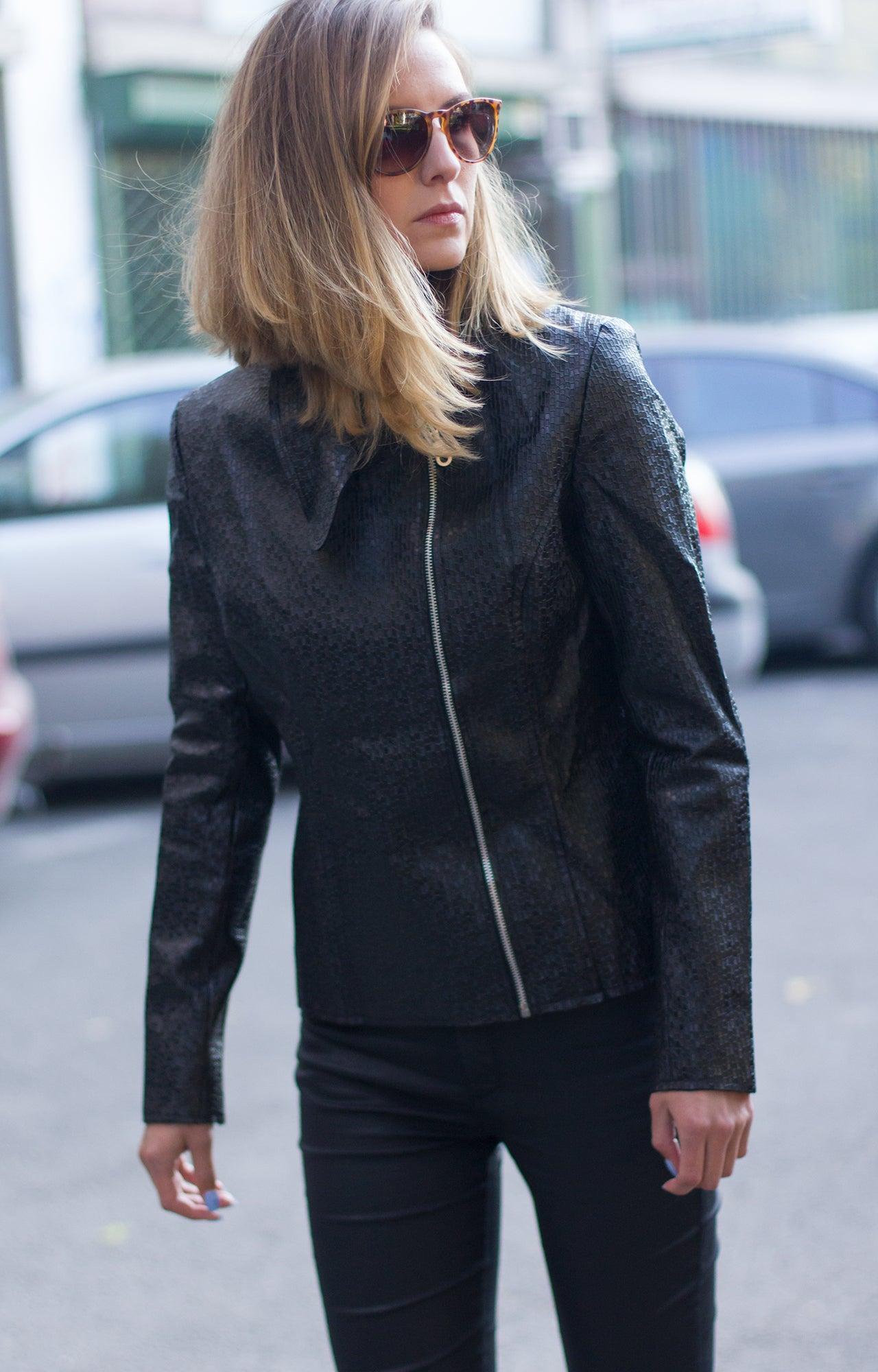 Black ladies leather biker jacket