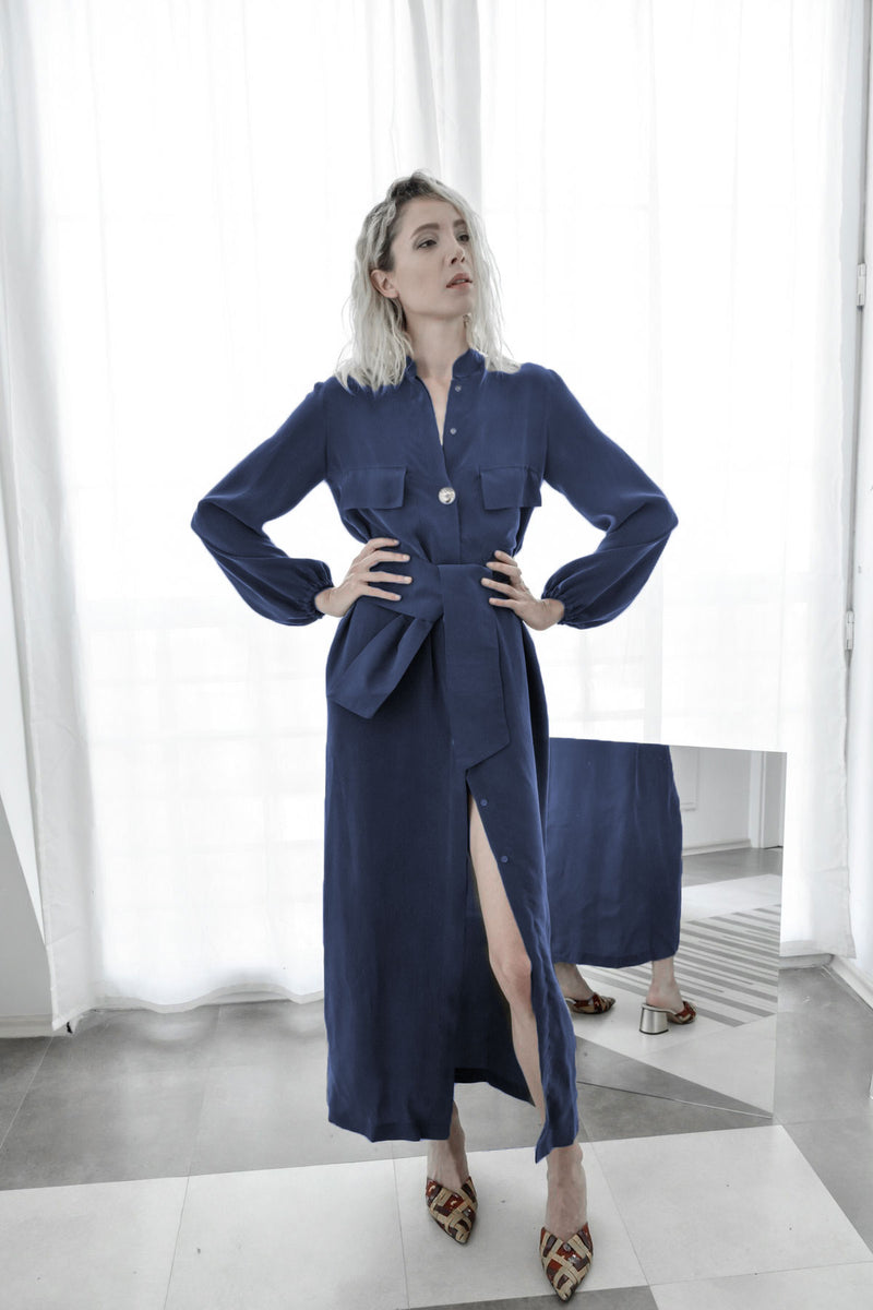 Dark Blue Cupro Silk Shirt Dress