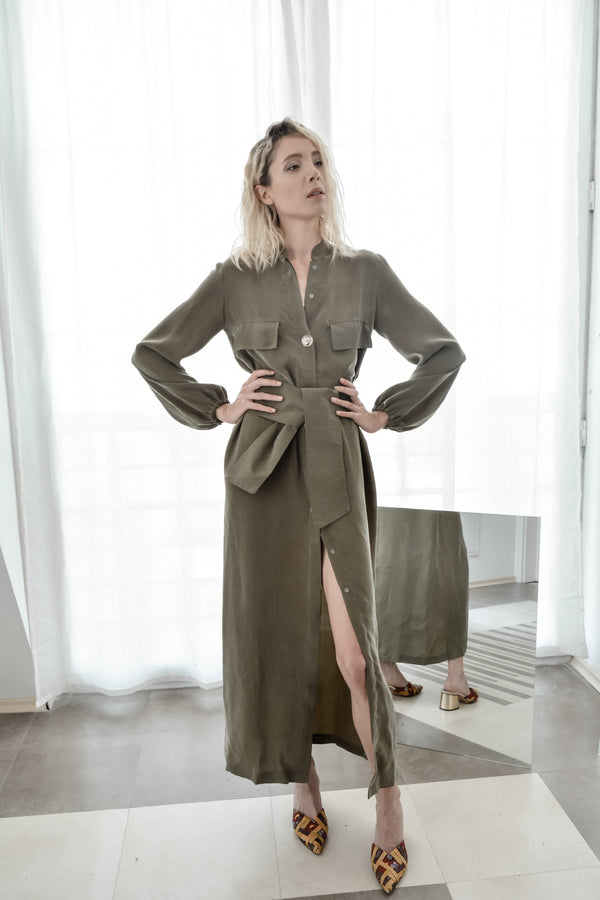 Olive shirt dress with pockets - Bastet Noir