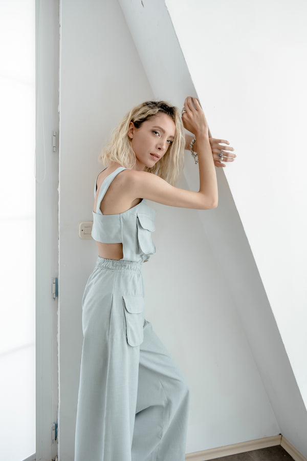 Baby blue linen jumpsuit - Bastet Noir  Edit alt text