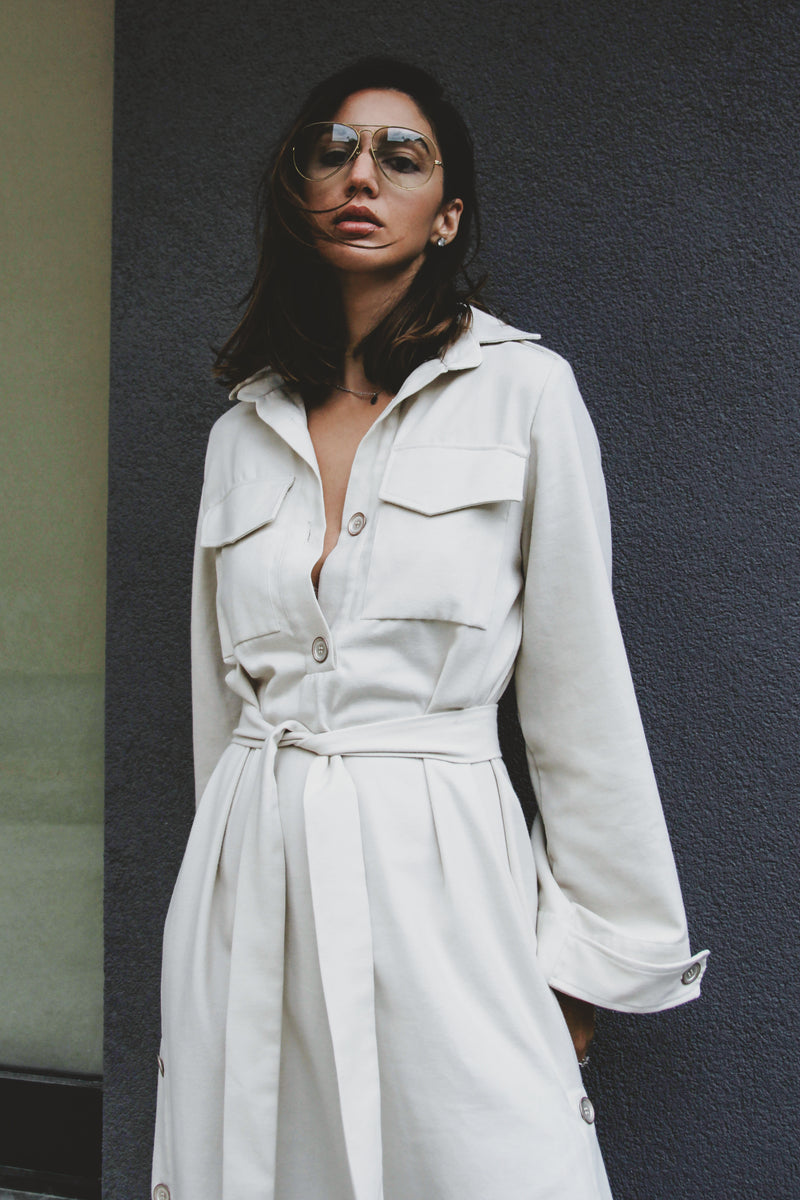 White Shirt Cashmere Dress with Side Slits and Front Pockets